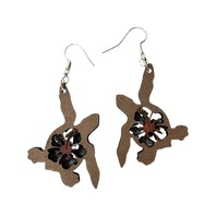 Dangle Drop Wooden Turtle Cut-Out with Hibiscus Flower Pierced Earring