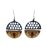 Dangle Drop Wooden and Leather Bee Cut-Out Honeycomb Pierced Earring