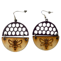 Dangle Drop Wooden and Leather Bee Cut-Out Honeycomb Burgundy Pierced Earring