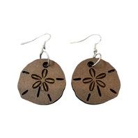 Dangle Drop Wooden Sand Dollar Ocean Nautical Pierced Earring