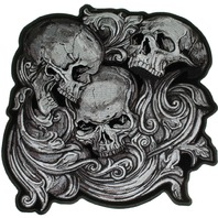 "Motorcycle Biker Uniform Patch 8.5"" x 9"" Jumbo Skulls in Agony"