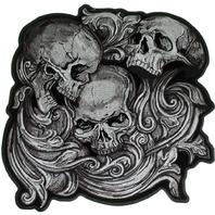 "Motorcycle Biker Uniform Patch 8.5"" x 9"" Jumbo Skulls in Agony"