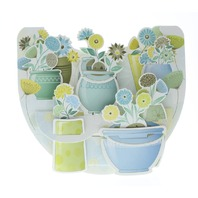 Flowers and Vases 3D Greeting Card Pop-Up and Rock Popnrock with Movement