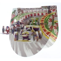 Motor Racing Card Speedway 3D Greeting Card Pop-Up and Rock Popnrock with Movement