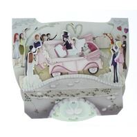 Wedding Car Day Bride Groom 3D Greeting Card Pop-Up and Rock Popnrock with Movement