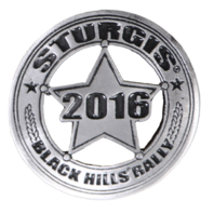 Official Sturgis 2016 Rally Sheriff Badge Star Motorcycle Hat Lapel Pin