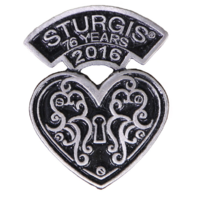 Official Sturgis 2016 Rally Heart Lock Motorcycle Hat Lapel Pin