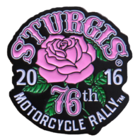 Official Sturgis 2016 Rally Rose Enamel Motorcycle Hat Lapel Pin