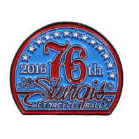Official Sturgis 2016 76th Anniversary Enamel Motorcycle Hat Lapel Pin