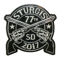 Official Sturgis 2016 Crossed Pistols Enamel Motorcycle Hat Lapel Pin