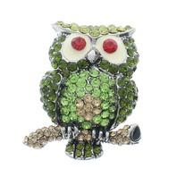 Green Hoot Hoot Owl Rhinestone Pin Brooch Broach