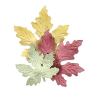 Multi Colored Fall Leaf Green Orange and Red Pin Brooch Broach
