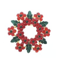 Red and Green Christmas Wreath Gold Tones and Rhinestone Bling Pin Brooch Broach