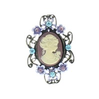 Vintage Inspired Cameo in Purple and Aqua Pin Brooch Broach