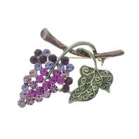 Grape Leaf Cluster Wine Inspired Rhinestone Pin Brooch Broach