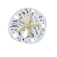 Ocean Nautical Sand Dollar Starfish with Silver and Gold tones Pin Brooch Broach