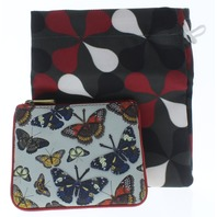 Yoshi Harness England Butterfly Flutter Leather Zip Applique Coin Wallet Purse