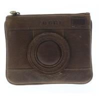 Yoshi Harness England monotone Camera Leather Zip Applique Coin Wallet Purse