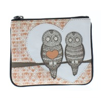 Yoshi Harness England Hoot Hoot Owl Leather Zip Applique Coin Wallet Purse