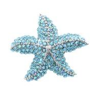 Aqua Starfish Ocean Nautical Animal Rhinestone Pin Brooch Broach