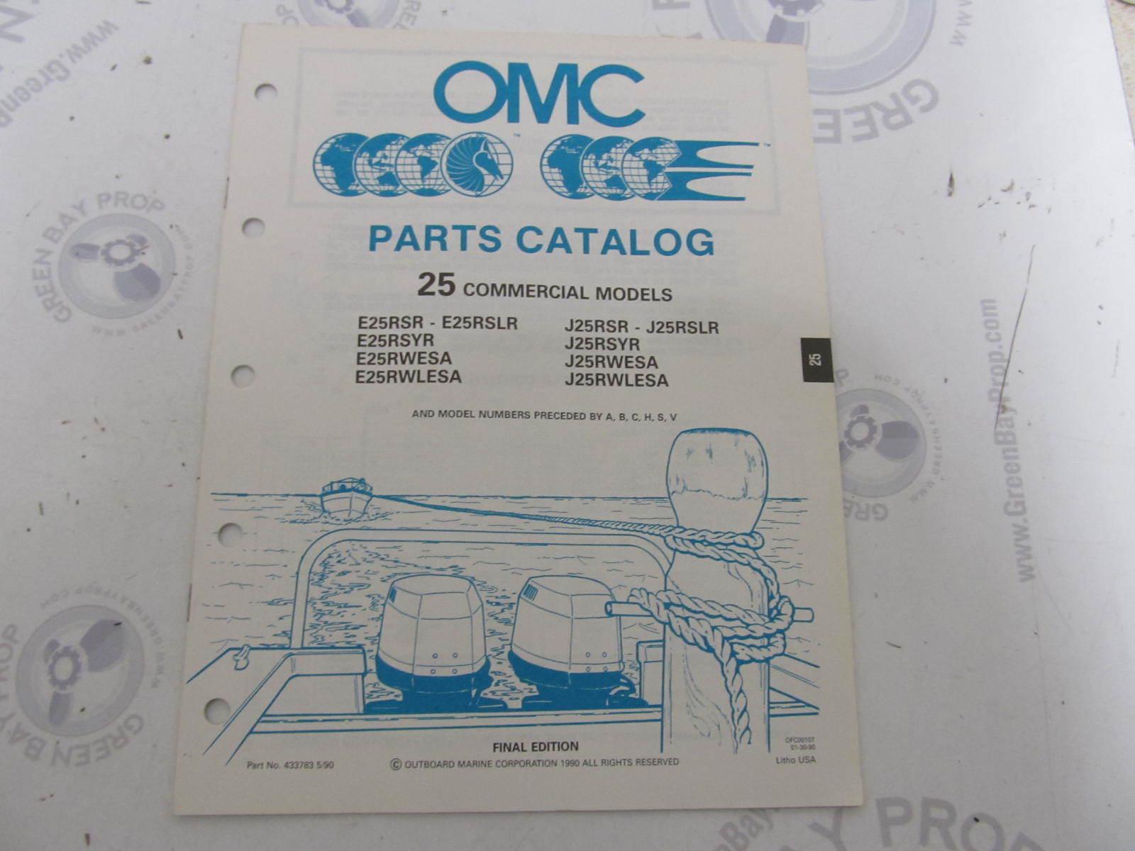 433783 1990 OMC Evinrude Johnson Outboard Parts Catalog 25 HP COMM