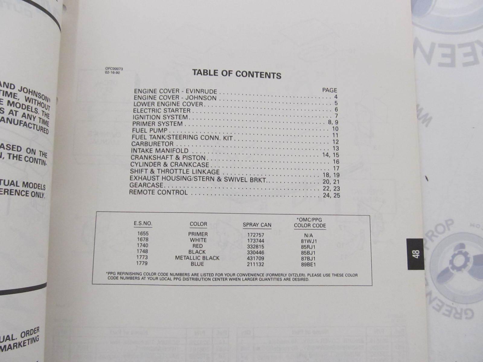 433788 1990 OMC Evinrude Johnson Outboard Parts Catalog 48-50 HP