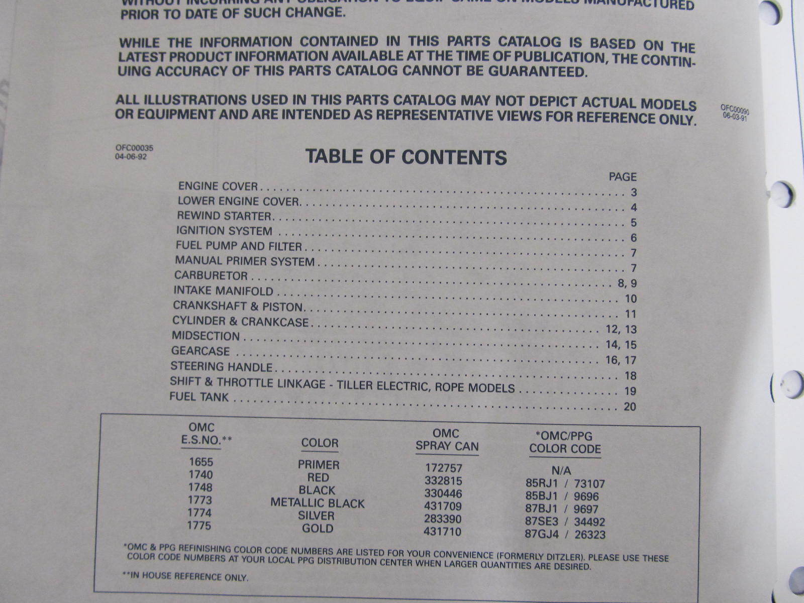 434991 1992 OMC Evinrude Johnson Outboard Parts Catalog 65 HP COMM Rope