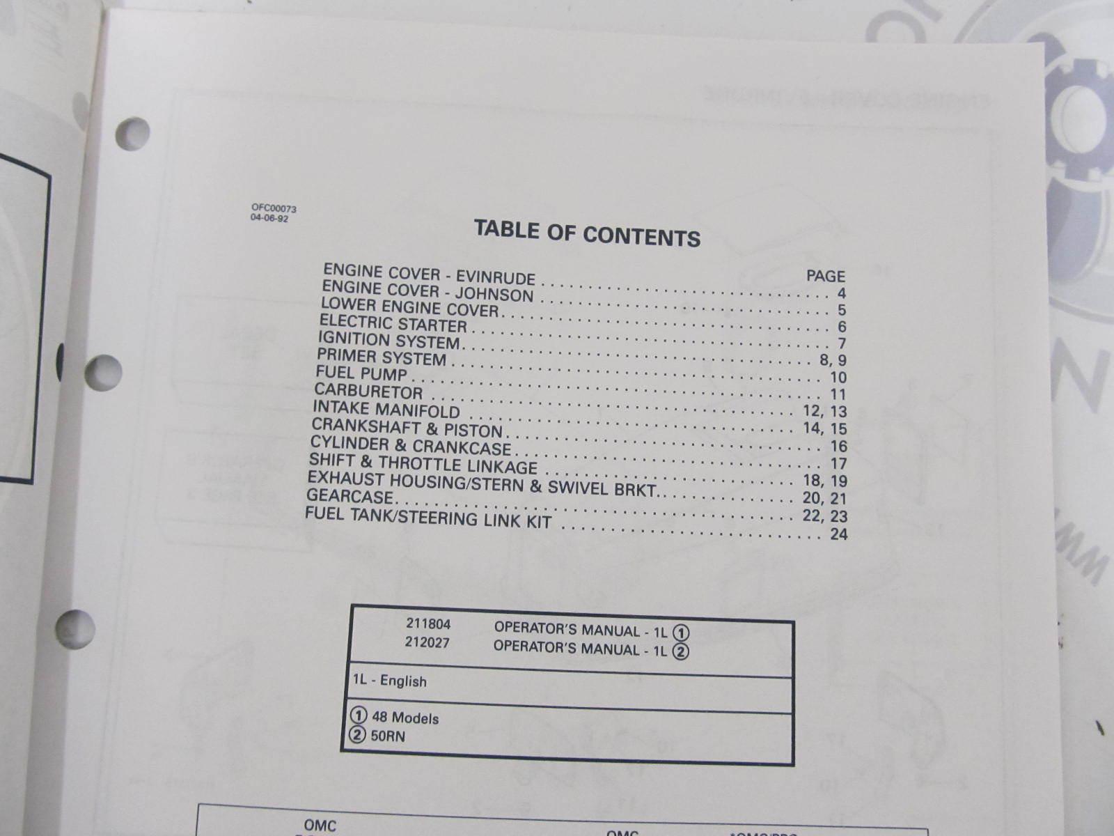 435012 1992 OMC Evinrude Johnson Outboard Parts Catalog 48 50 HP
