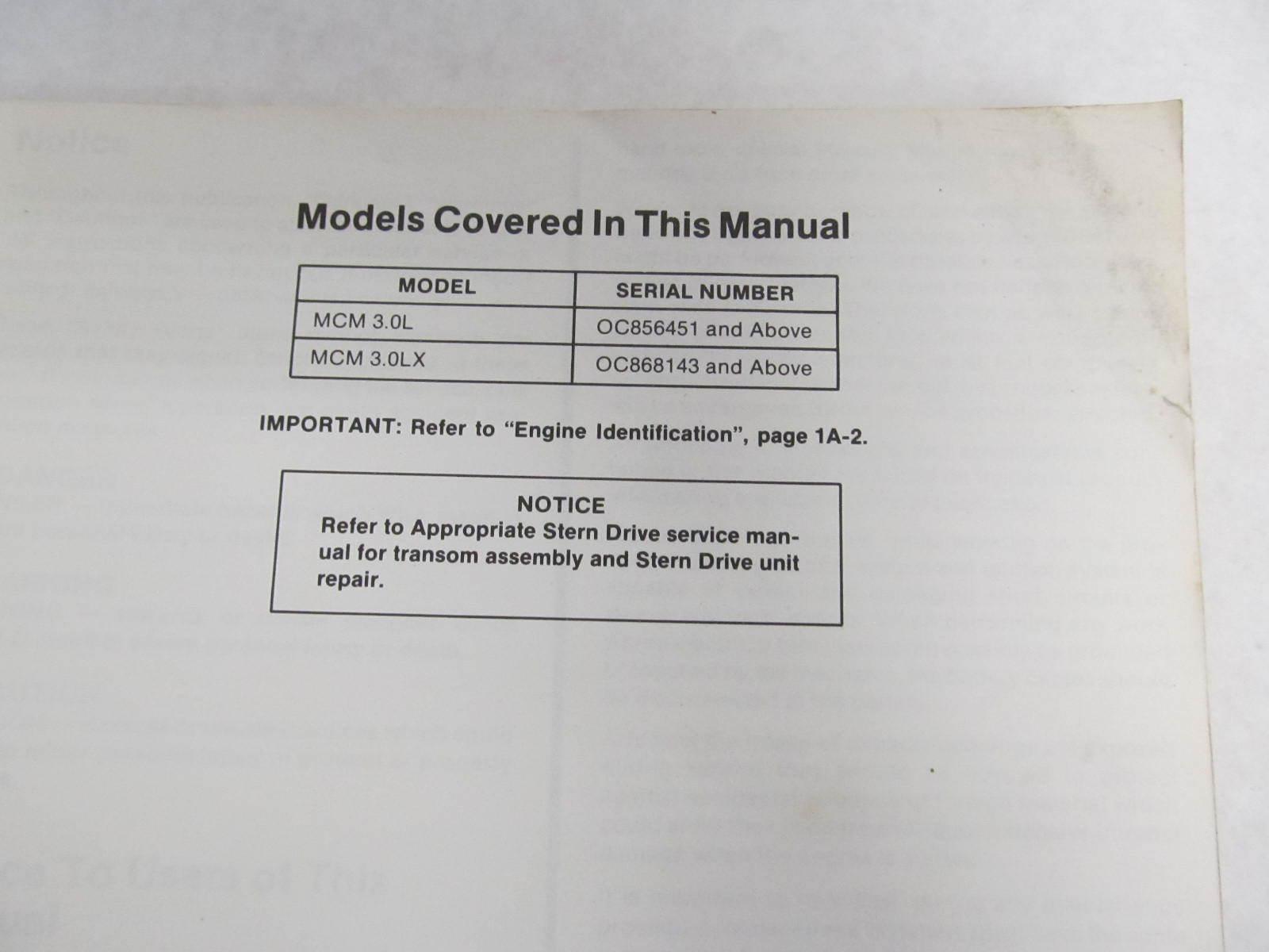 Mercruiser 3 0lx manual