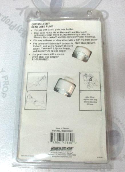 Fits Mercury Mariner Quicksilver 91-802891Q2 GEAR LUBE PUMP for 32 oz   Bottle