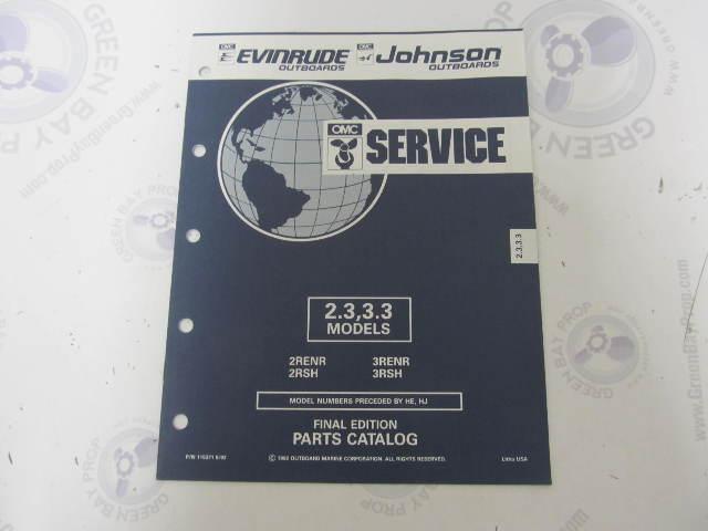 115371 1992 OMC Evinrude Johnson Outboard Parts Catalog 2.3-3.3 HP