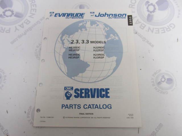 115380 1991 OMC Evinrude Johnson Outboard Parts Catalog 2.3-3.3 HP