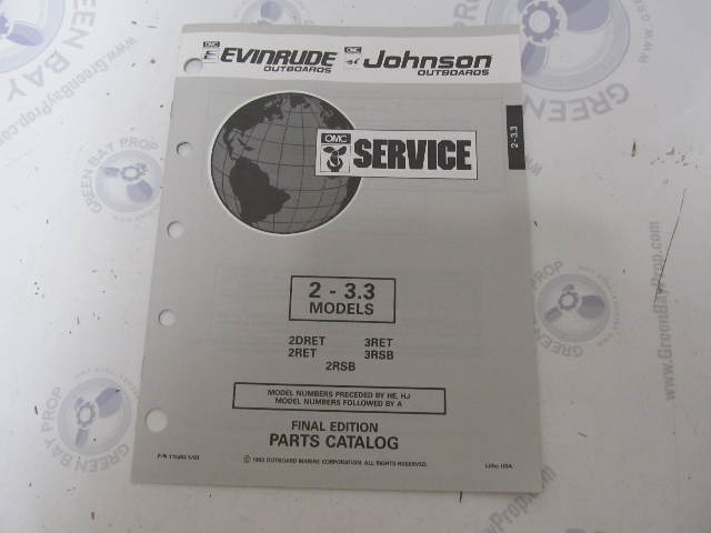 115393 1993 OMC Evinrude Johnson Outboard Parts Catalog 2-3 3 HP