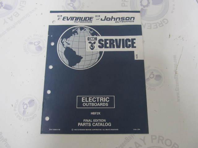 115956 1992 OMC Evinrude Johnson Electric Outboard Parts Catalog HBF2K