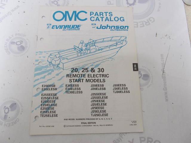 433782 1990 OMC Evinrude Johnson Outboard Parts Catalog 20-30 HP Remote Electric