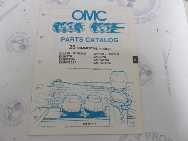 433783 1990 OMC Evinrude Johnson Outboard Parts Catalog 25 HP COMM