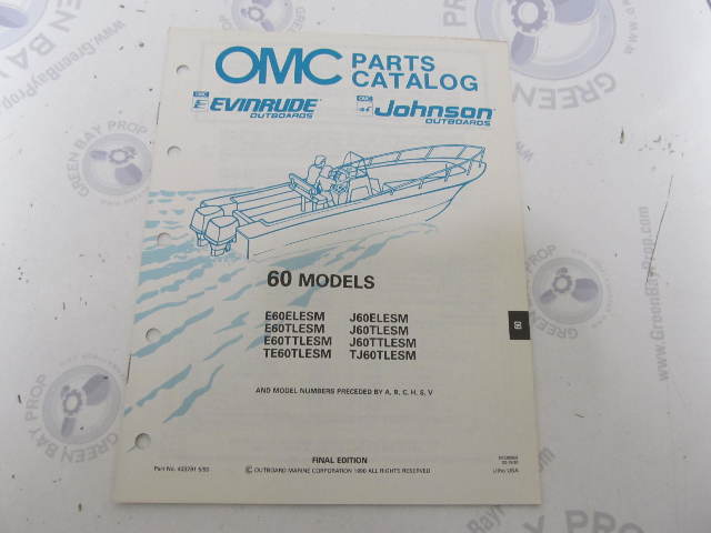 433791 1990 OMC Evinrude Johnson Outboard Parts Catalog 60 HP