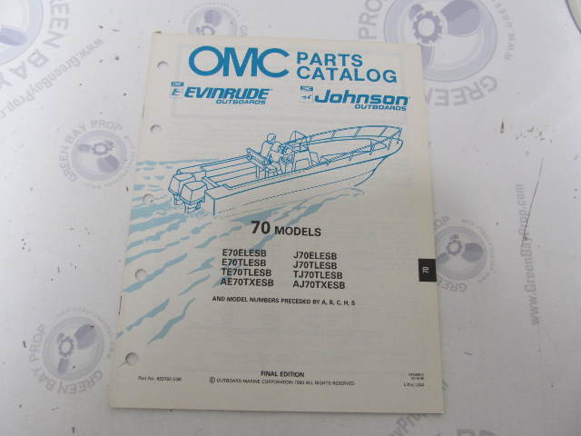 433793 1990 OMC Evinrude Johnson Outboard Parts Catalog 70 HP