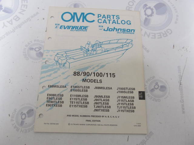 433794 1990 OMC Evinrude Johnson Outboard Parts Catalog 88-115 HP