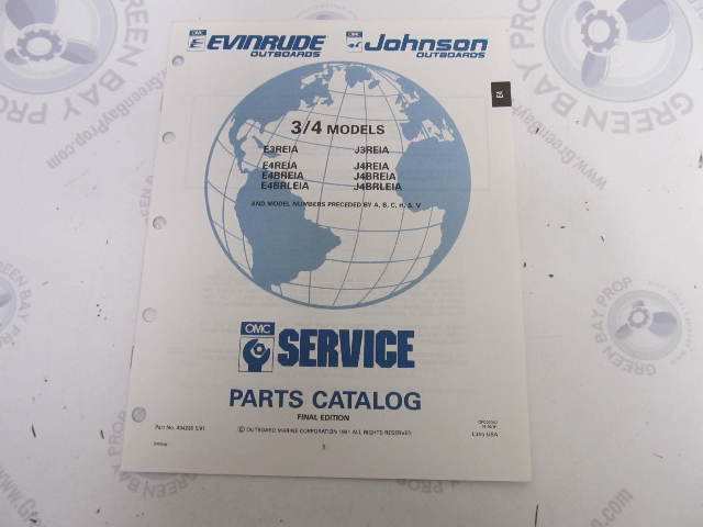 434230 1991 OMC Evinrude Johnson Outboard Parts Catalog 3-4 HP