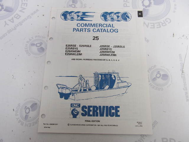 434238 1991 OMC Evinrude Johnson Outboard Parts Catalog 25 HP COMM
