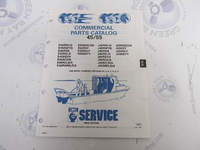 434242 1991 OMC Evinrude Johnson Outboard Parts Catalog 45-55 HP COMM