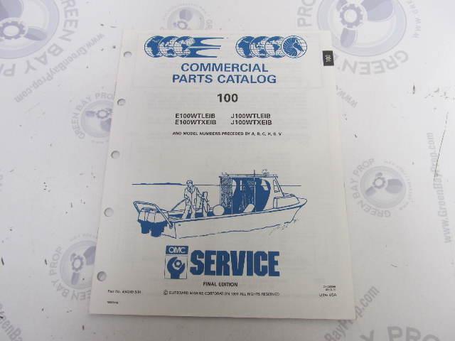 434249 1991 OMC Evinrude Johnson Outboard Parts Catalog 100 HP COMM