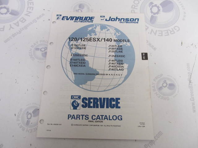 434250 1991 OMC Evinrude Johnson Outboard Parts Catalog 120-125 140 HP