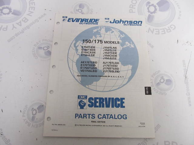 434252 1991 OMC Evinrude Johnson Outboard Parts Catalog 150/175 HP