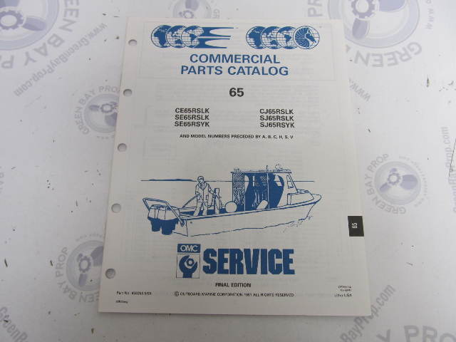 434263 1991 OMC Evinrude Johnson Outboard Parts Catalog 65 HP COMM RS