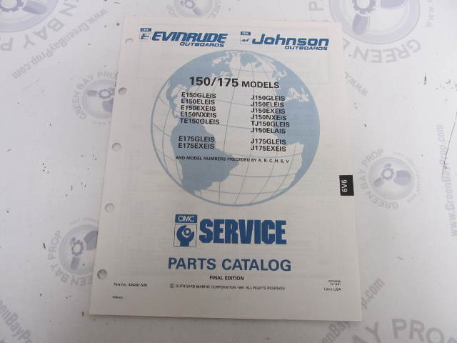 434267 1991 OMC Evinrude Johnson Outboard Parts Catalog 150/175 HP 6V6