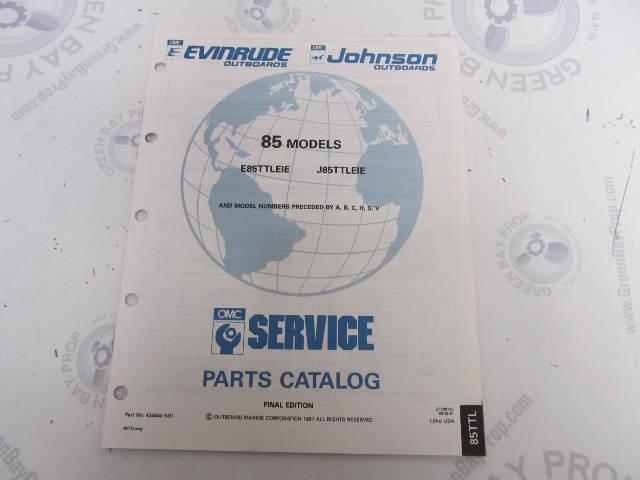 434644 1991 OMC Evinrude Johnson Outboard Parts Catalog 85 HP TTL