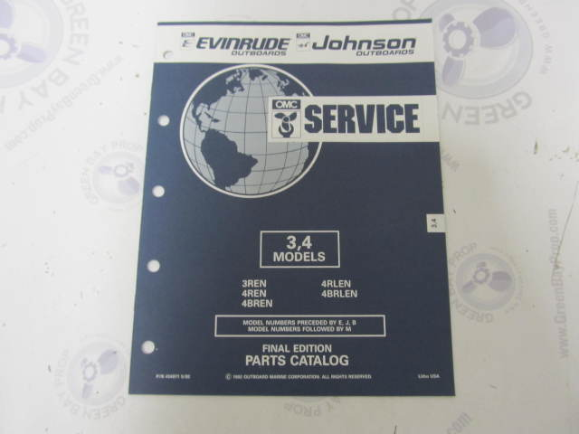 434971 1992 OMC Evinrude Johnson Outboard Parts Catalog 3-4 HP