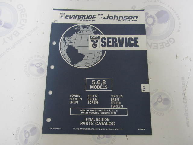 434973 1992 OMC Evinrude Johnson Outboard Parts Catalog 5-8 HP